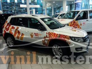 Оклейка автомобилей к Олимпийским играм в Сочи Volksvagen Tiguan передний правый угол