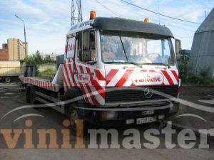 Оклейка пленкой эвакуаторов для компании А 24 Mersedes правая боковина